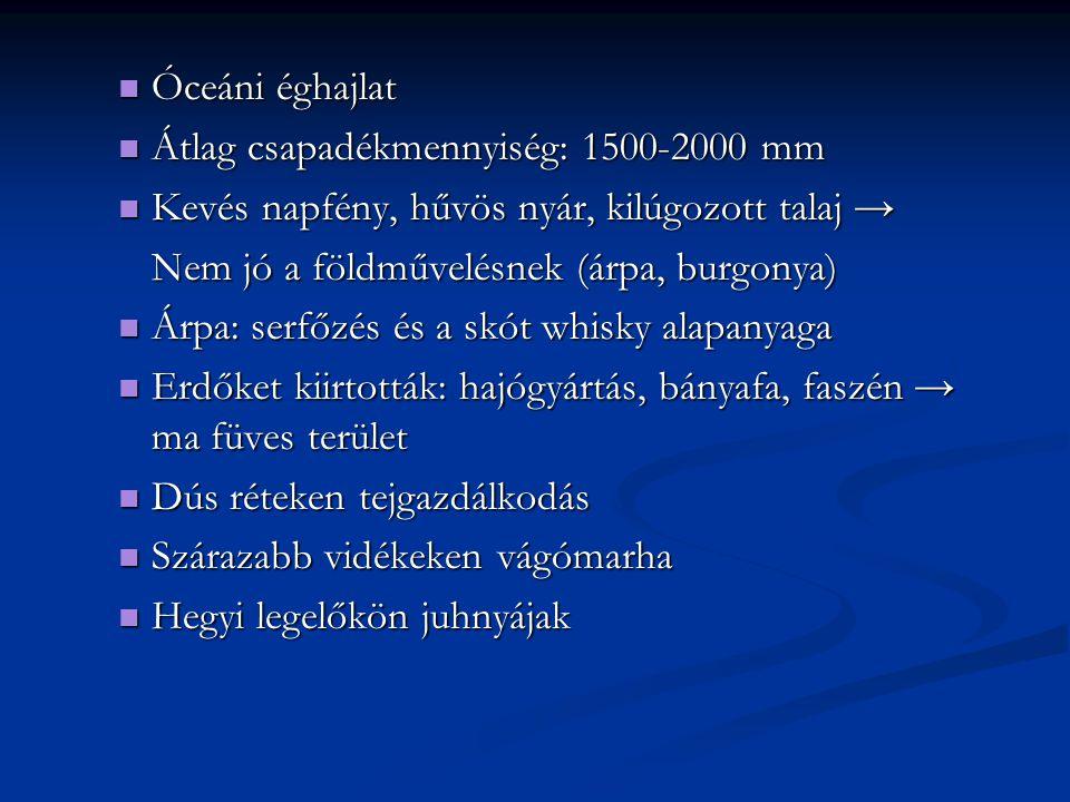 Óceáni éghajlat Óceáni éghajlat Átlag csapadékmennyiség: 1500-2000 mm Átlag csapadékmennyiség: 1500-2000 mm Kevés napfény, hűvös nyár, kilúgozott tala