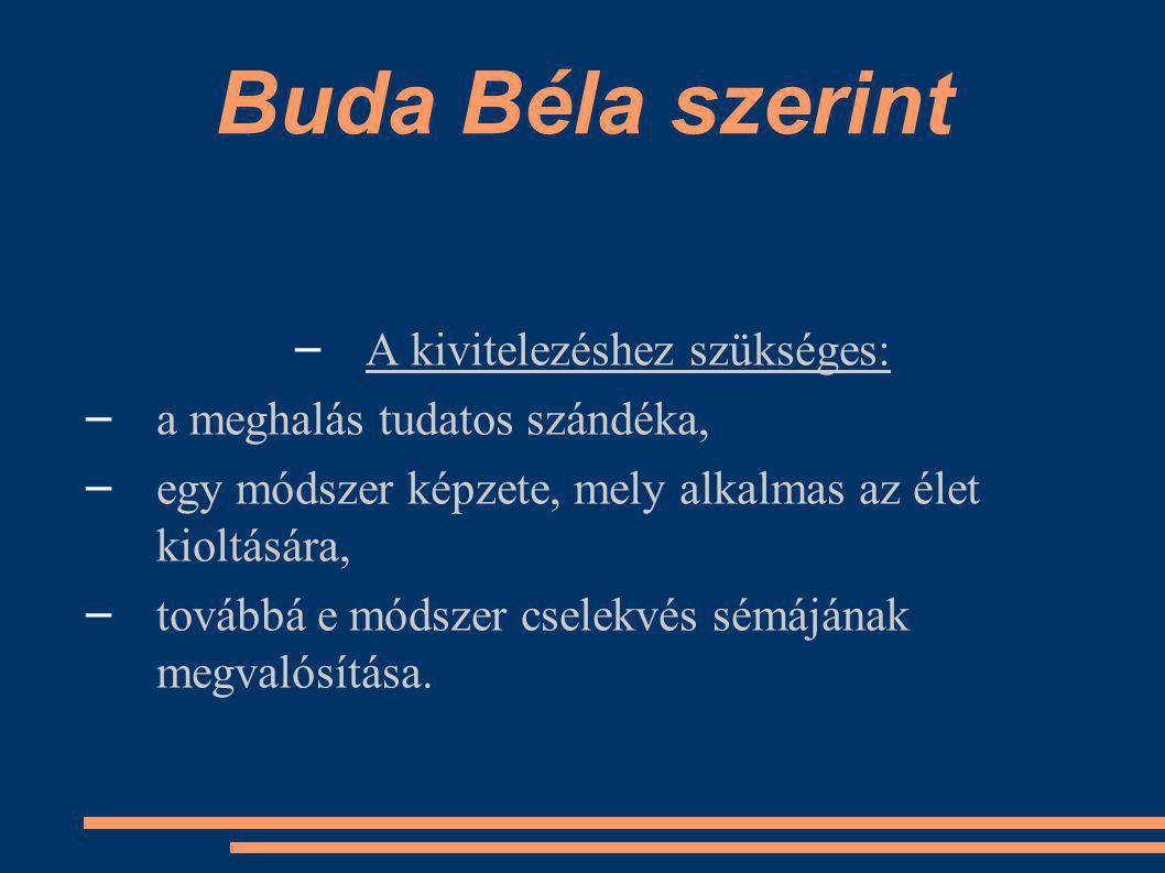 Buda Béla szerint – A kivitelezéshez szükséges: – a meghalás tudatos szándéka, – egy módszer képzete, mely alkalmas az élet kioltására, – továbbá e módszer cselekvés sémájának megvalósítása.