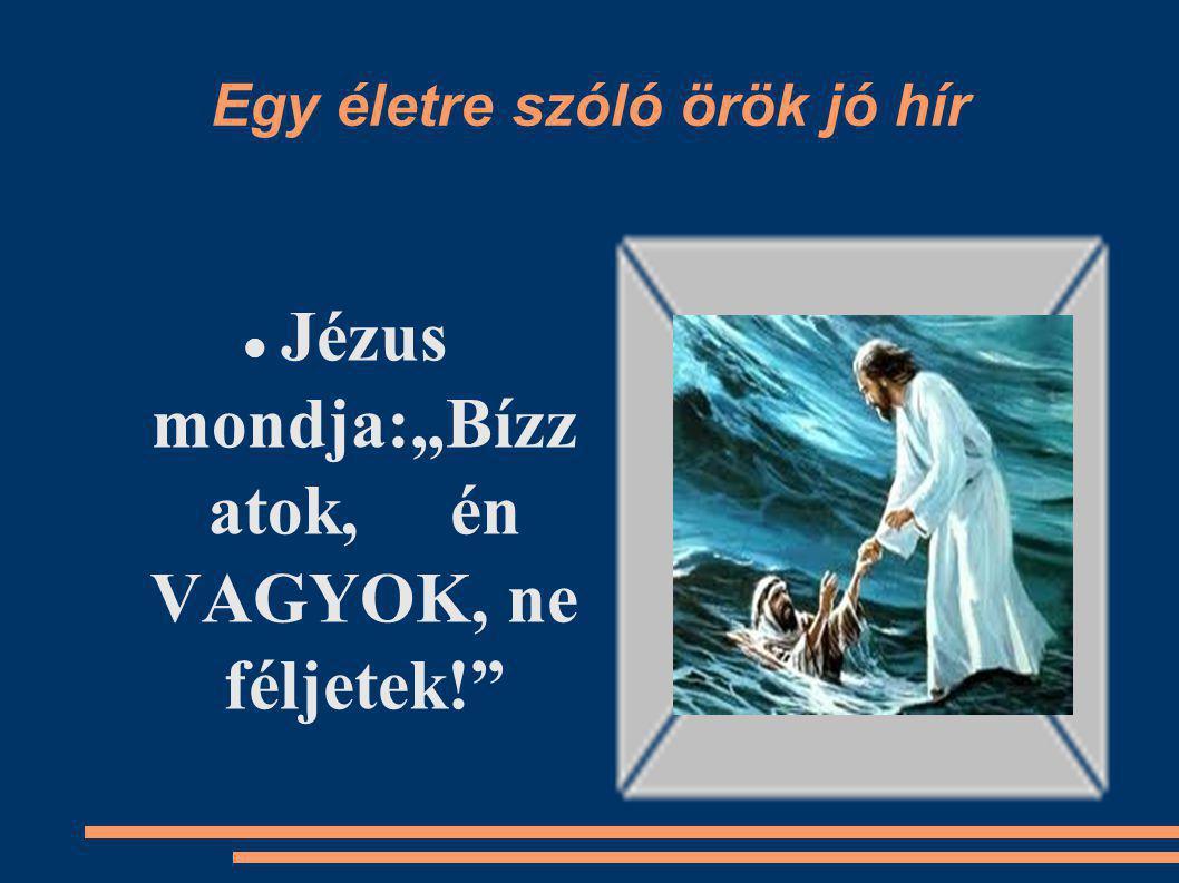 """Egy életre szóló örök jó hír Jézus mondja:""""Bízz atok, én VAGYOK, ne féljetek!"""