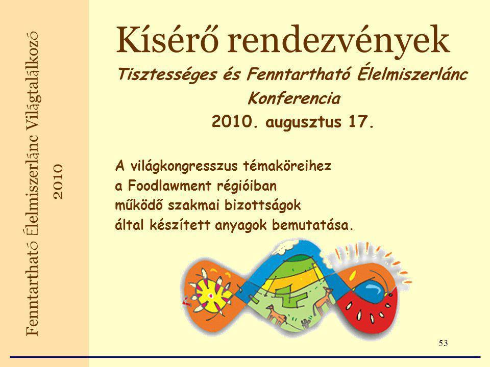 53 Kísérő rendezvények Tisztességes és Fenntartható Élelmiszerlánc Konferencia 2010.