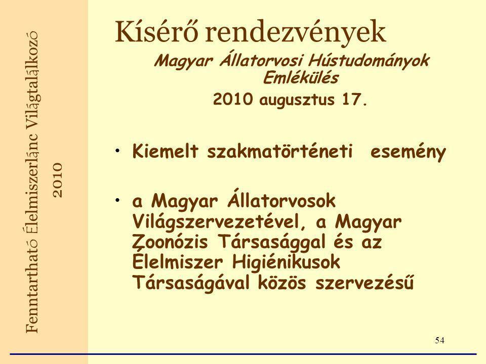 54 Kísérő rendezvények Magyar Állatorvosi Hústudományok Emlékülés 2010 augusztus 17.