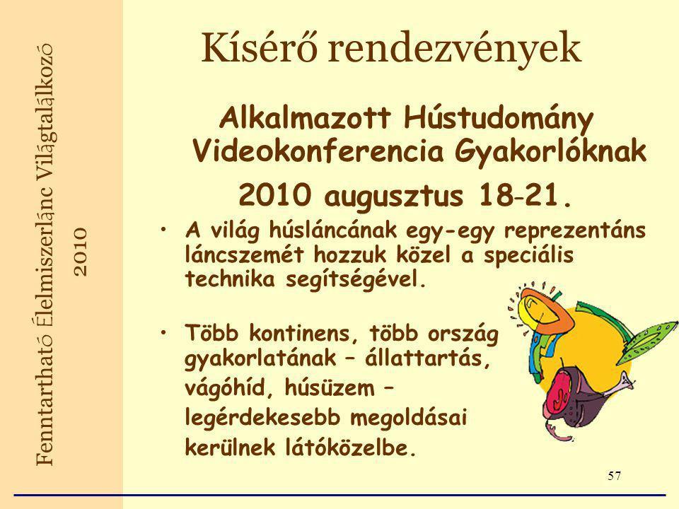 57 Alkalmazott Hústudomány Vide o konferencia Gyakorlóknak 2010 augusztus 18 – 21.