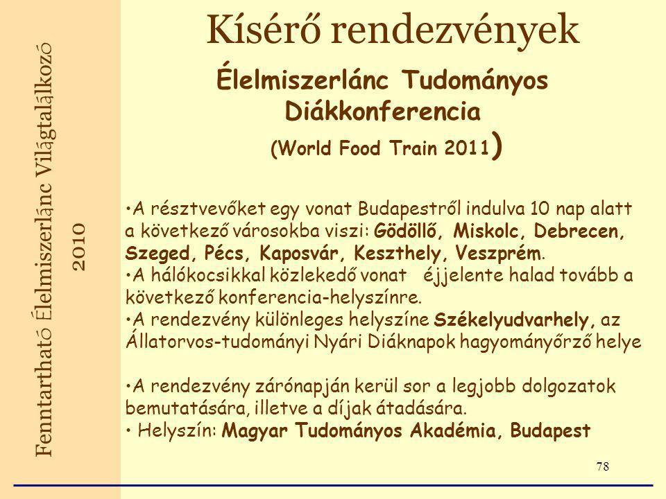 78 Kísérő rendezvények Fenntarthat ó É lelmiszerl á nc Vil á gtal á lkoz ó 2010 Élelmiszerlánc Tudományos Diákkonferencia (World Food Train 2011 ) A résztvevőket egy vonat Budapestről indulva 10 nap alatt a következő városokba viszi: Gödöllő, Miskolc, Debrecen, Szeged, Pécs, Kaposvár, Keszthely, Veszprém.