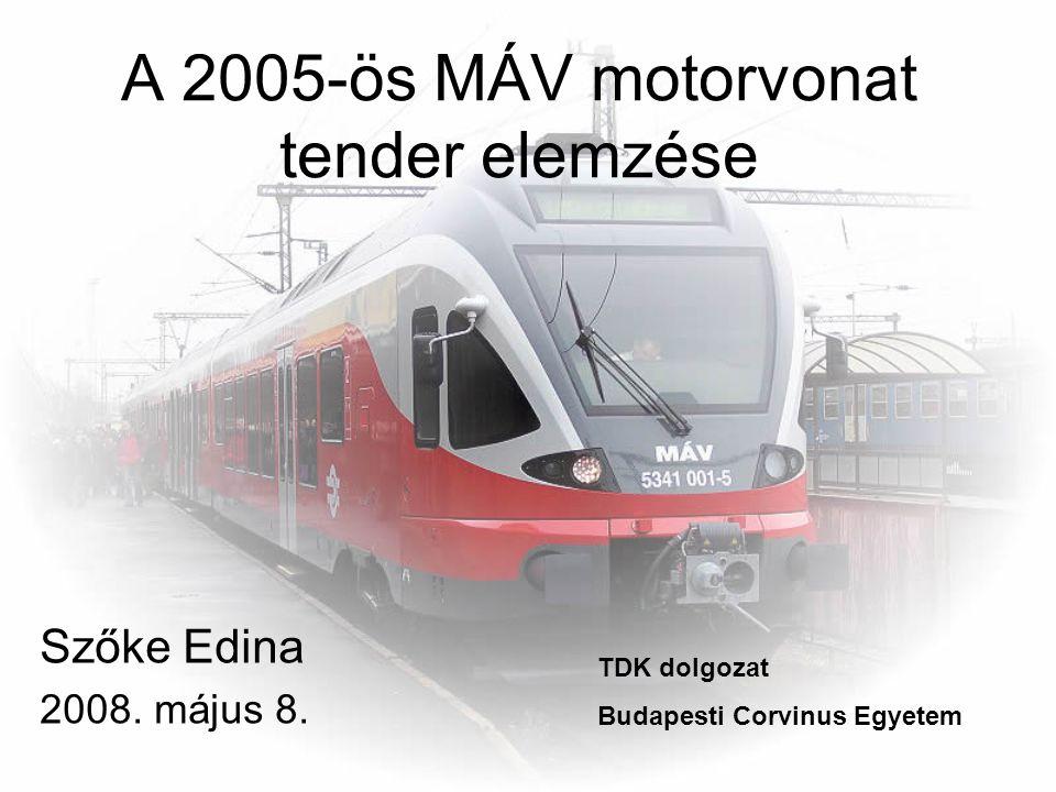 A 2005-ös MÁV motorvonat tender elemzése Szőke Edina 2008. május 8. TDK dolgozat Budapesti Corvinus Egyetem