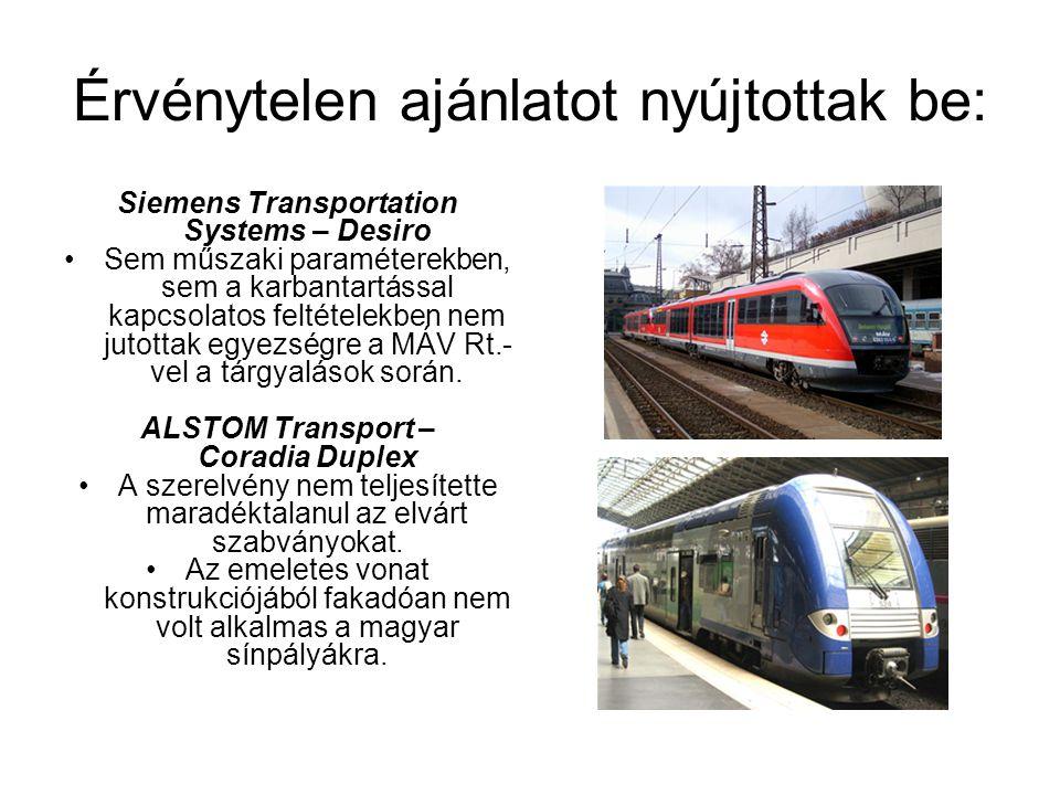 Érvénytelen ajánlatot nyújtottak be: Siemens Transportation Systems – Desiro Sem műszaki paraméterekben, sem a karbantartással kapcsolatos feltételekb