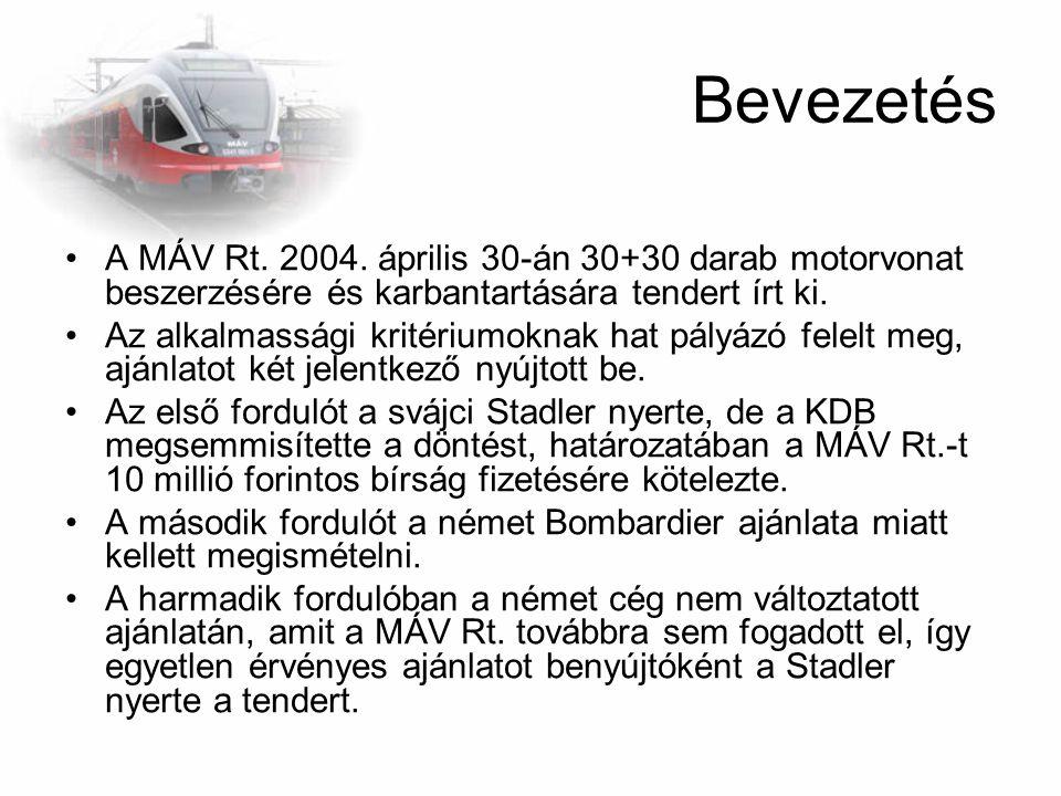 Bevezetés A MÁV Rt. 2004. április 30-án 30+30 darab motorvonat beszerzésére és karbantartására tendert írt ki. Az alkalmassági kritériumoknak hat pály