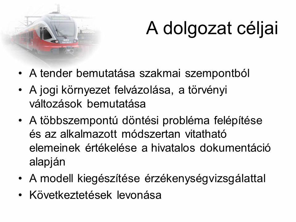 A dolgozat céljai A tender bemutatása szakmai szempontból A jogi környezet felvázolása, a törvényi változások bemutatása A többszempontú döntési probl