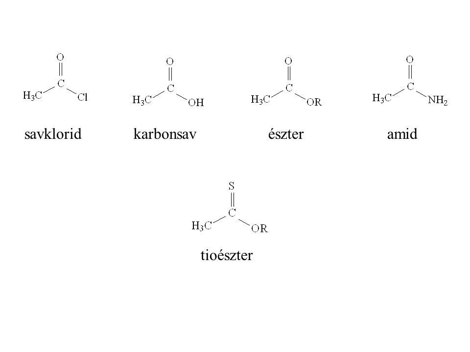 savklorid karbonsav észter amid tioészter