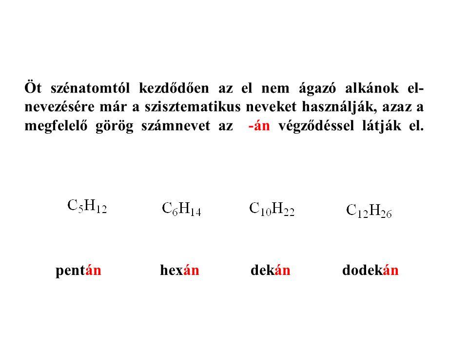 Öt szénatomtól kezdődően az el nem ágazó alkánok el- nevezésére már a szisztematikus neveket használják, azaz a megfelelő görög számnevet az -án végződéssel látják el.