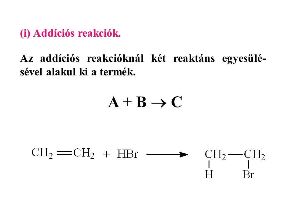 (i) Addíciós reakciók.Az addíciós reakcióknál két reaktáns egyesülé- sével alakul ki a termék.