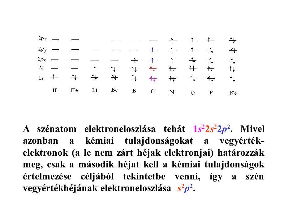 A szénatom elektroneloszlása tehát 1s 2 2s 2 2p 2.