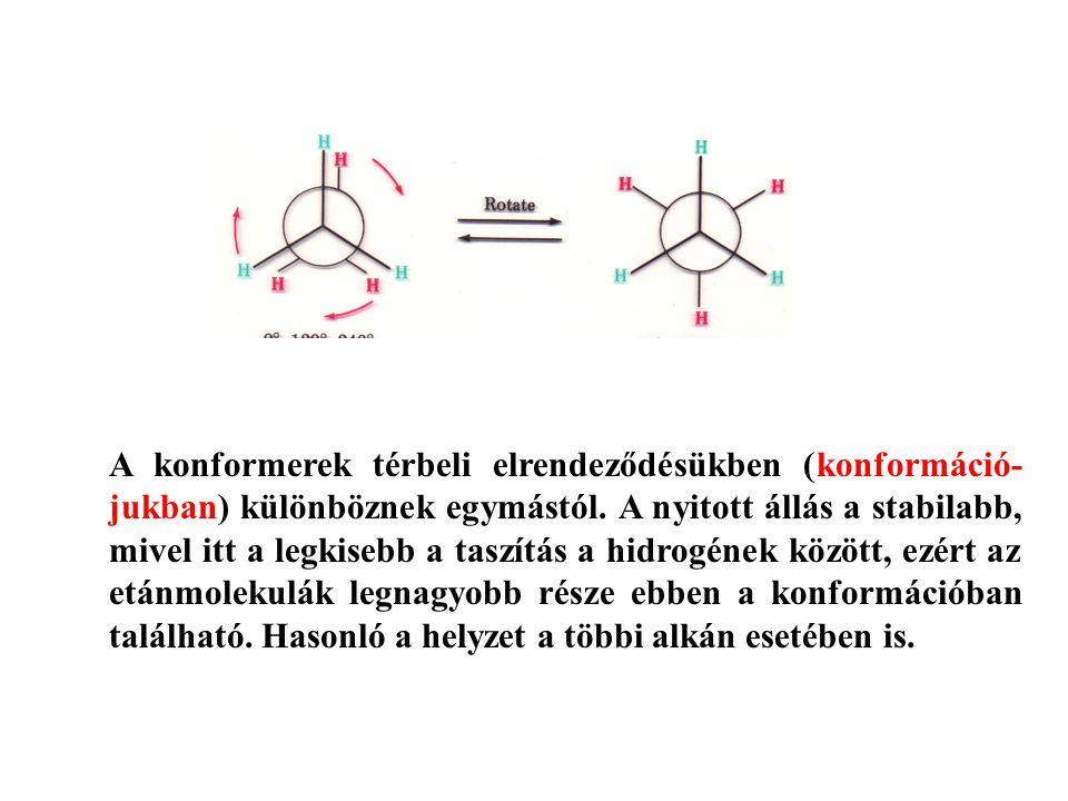 A konformerek térbeli elrendeződésükben (konformáció- jukban) különböznek egymástól.