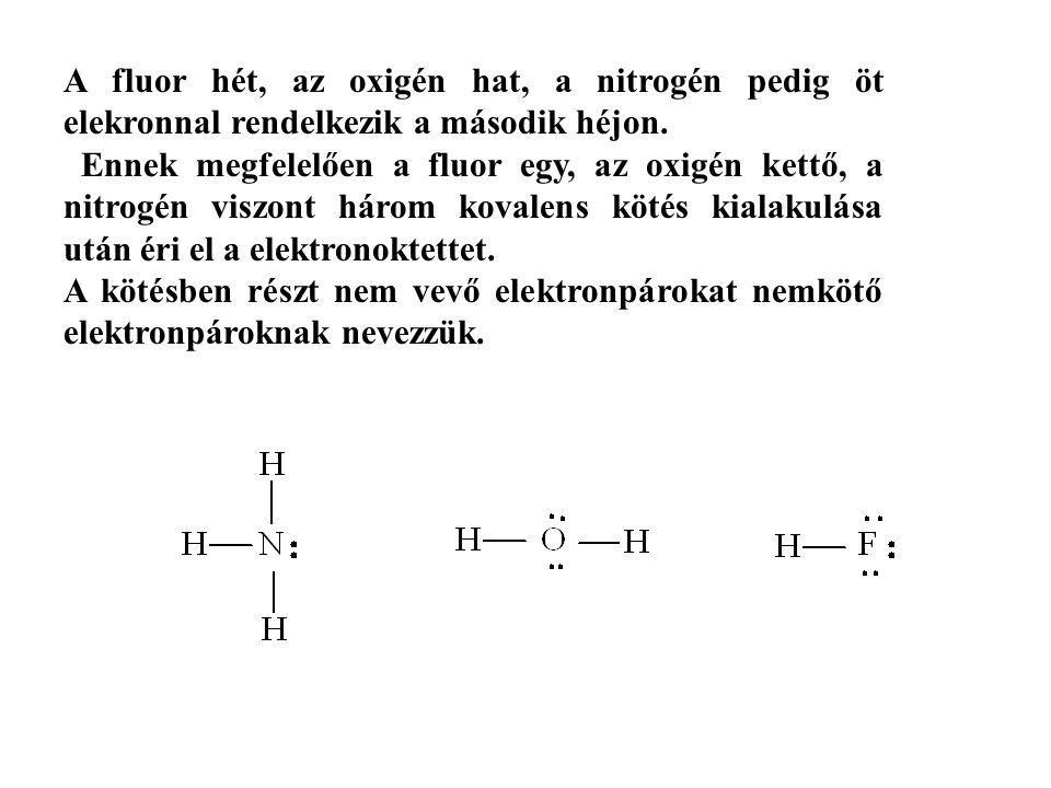 A fluor hét, az oxigén hat, a nitrogén pedig öt elekronnal rendelkezik a második héjon.