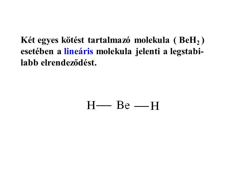Két egyes kötést tartalmazó molekula ( BeH 2 ) esetében a lineáris molekula jelenti a legstabi- labb elrendeződést.