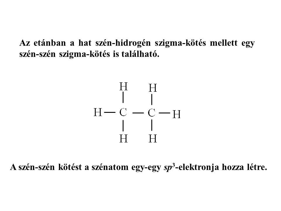 Az etánban a hat szén-hidrogén szigma-kötés mellett egy szén-szén szigma-kötés is található.