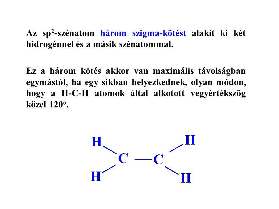 Az sp 2 -szénatom három szigma-kötést alakít ki két hidrogénnel és a másik szénatommal.