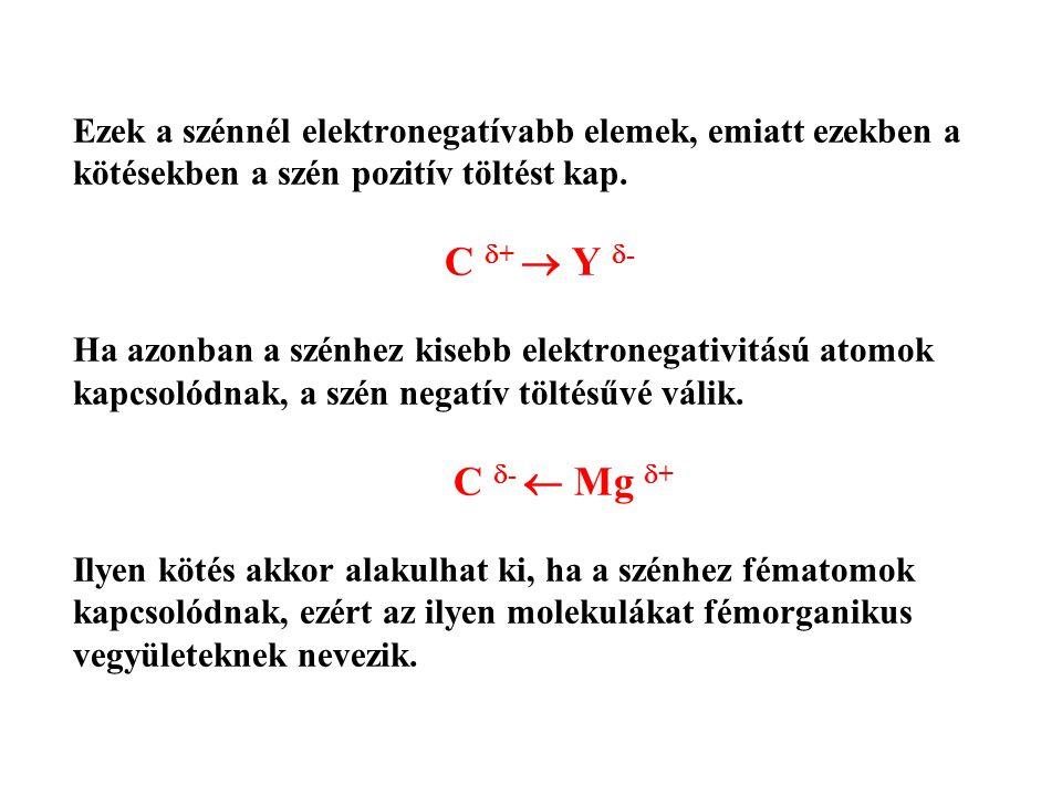Ezek a szénnél elektronegatívabb elemek, emiatt ezekben a kötésekben a szén pozitív töltést kap.