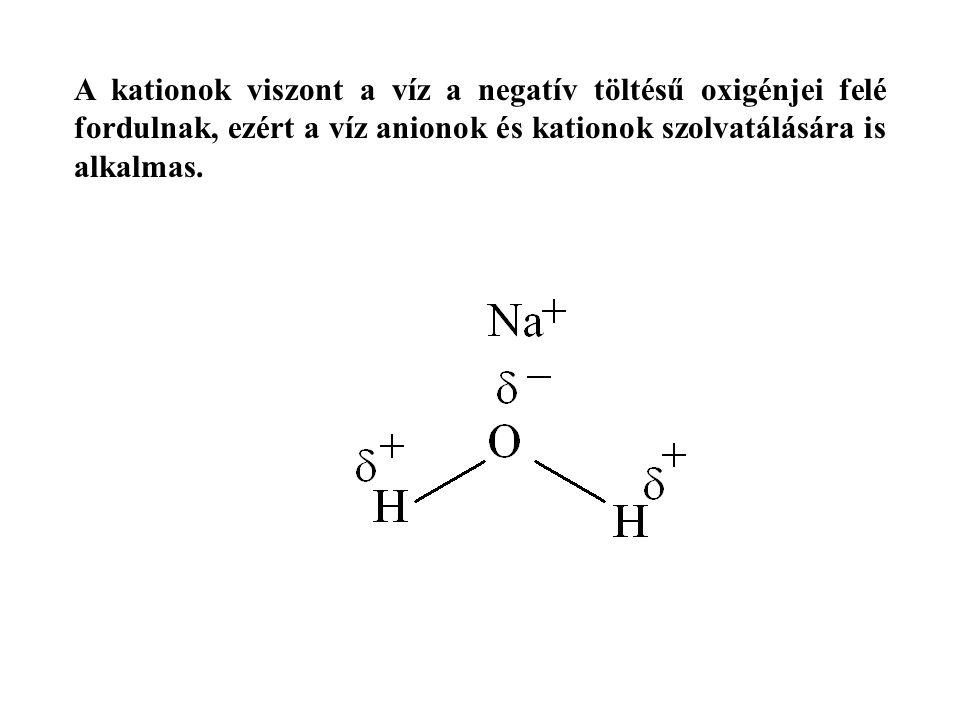 A kationok viszont a víz a negatív töltésű oxigénjei felé fordulnak, ezért a víz anionok és kationok szolvatálására is alkalmas.