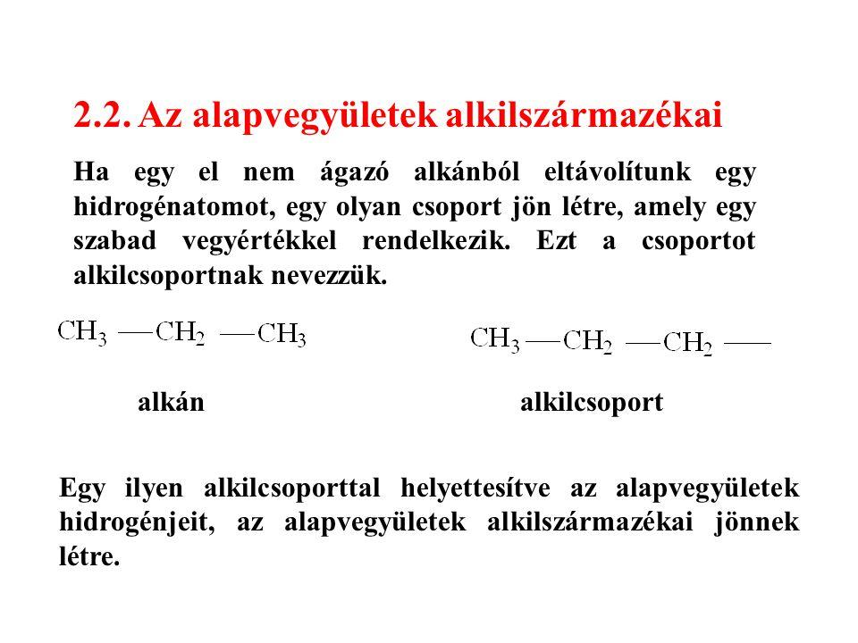 2.2. Az alapvegyületek alkilszármazékai Ha egy el nem ágazó alkánból eltávolítunk egy hidrogénatomot, egy olyan csoport jön létre, amely egy szabad ve