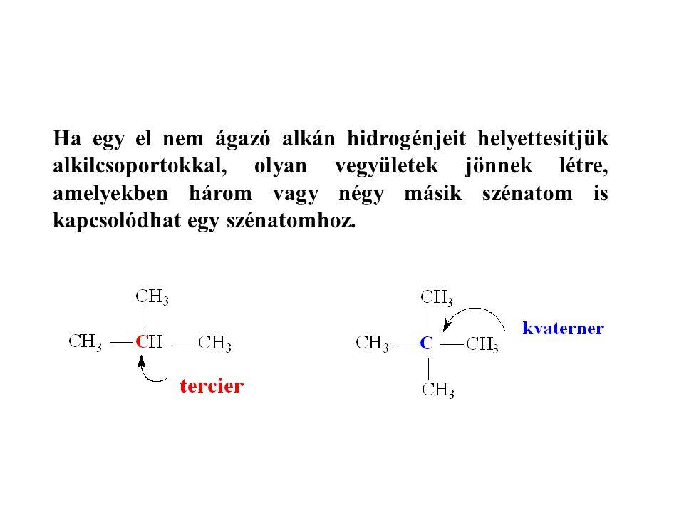 Ha egy el nem ágazó alkán hidrogénjeit helyettesítjük alkilcsoportokkal, olyan vegyületek jönnek létre, amelyekben három vagy négy másik szénatom is kapcsolódhat egy szénatomhoz.