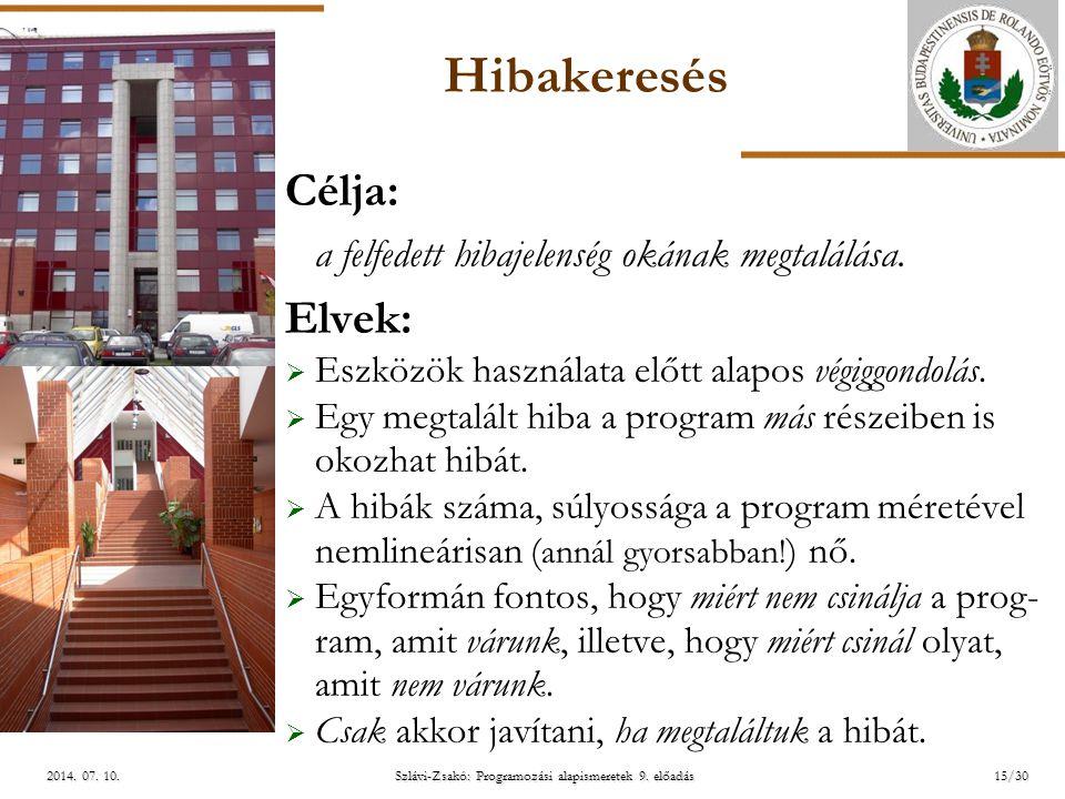 ELTE Szlávi-Zsakó: Programozási alapismeretek 9. előadás2014. 07. 10.2014. 07. 10.2014. 07. 10. Hibakeresés Célja: a felfedett hibajelenség okának meg