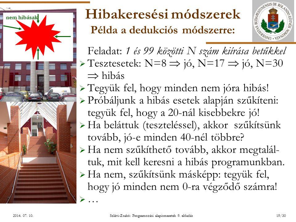 ELTE Szlávi-Zsakó: Programozási alapismeretek 9. előadás2014. 07. 10.2014. 07. 10.2014. 07. 10. Hibakeresési módszerek Példa a dedukciós módszerre: Fe