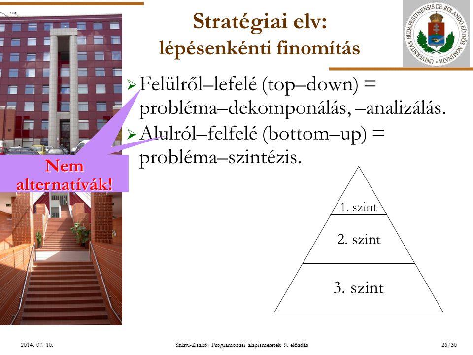 ELTE Szlávi-Zsakó: Programozási alapismeretek 9. előadás2014. 07. 10.2014. 07. 10.2014. 07. 10. Stratégiai elv: lépésenkénti finomítás  Felülről–lefe