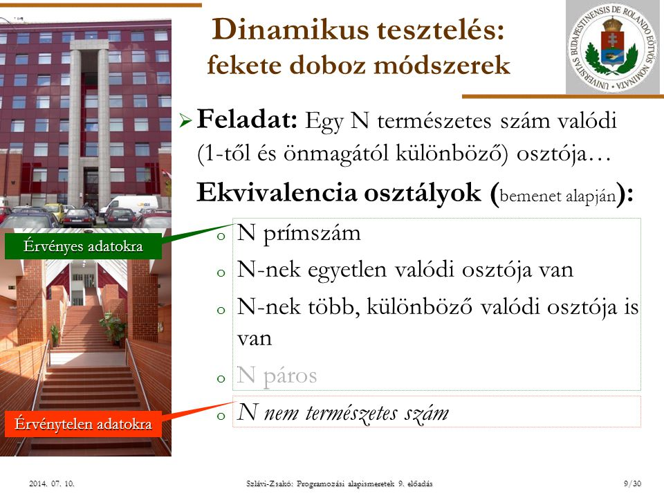 ELTE Szlávi-Zsakó: Programozási alapismeretek 9. előadás2014. 07. 10.2014. 07. 10.2014. 07. 10. Dinamikus tesztelés: fekete doboz módszerek  Feladat: