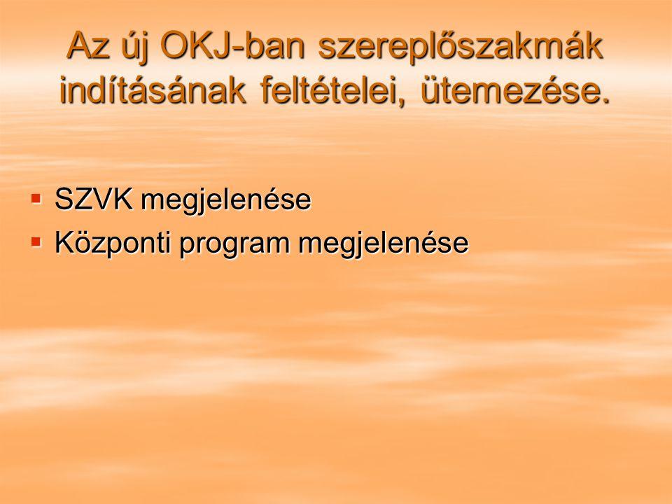 Az új OKJ-ban szereplőszakmák indításának feltételei, ütemezése.  SZVK megjelenése  Központi program megjelenése