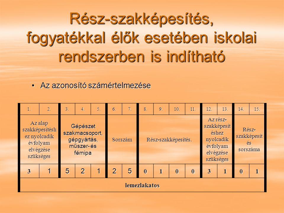 Rész-szakképesítés, fogyatékkal élők esetében iskolai rendszerben is indítható Az azonosító számértelmezéseAz azonosító számértelmezése 1.2.3.4.5.6.7.8.9.10.11.12.13.14.15.
