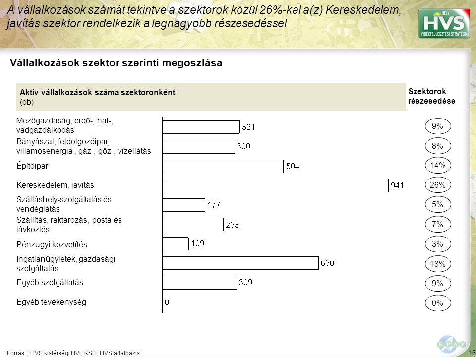 16 Forrás:HVS kistérségi HVI, KSH, HVS adatbázis Vállalkozások szektor szerinti megoszlása A vállalkozások számát tekintve a szektorok közül 26%-kal a(z) Kereskedelem, javítás szektor rendelkezik a legnagyobb részesedéssel Aktív vállalkozások száma szektoronként (db) Mezőgazdaság, erdő-, hal-, vadgazdálkodás Bányászat, feldolgozóipar, villamosenergia-, gáz-, gőz-, vízellátás Építőipar Kereskedelem, javítás Szálláshely-szolgáltatás és vendéglátás Szállítás, raktározás, posta és távközlés Pénzügyi közvetítés Ingatlanügyletek, gazdasági szolgáltatás Egyéb szolgáltatás Egyéb tevékenység Szektorok részesedése 9% 8% 26% 5% 7% 18% 9% 0% 14% 3%