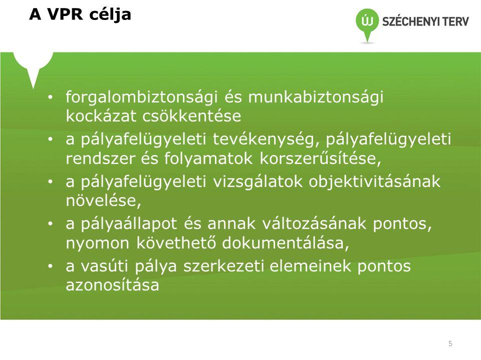 A VPR célja forgalombiztonsági és munkabiztonsági kockázat csökkentése a pályafelügyeleti tevékenység, pályafelügyeleti rendszer és folyamatok korszerűsítése, a pályafelügyeleti vizsgálatok objektivitásának növelése, a pályaállapot és annak változásának pontos, nyomon követhető dokumentálása, a vasúti pálya szerkezeti elemeinek pontos azonosítása 5