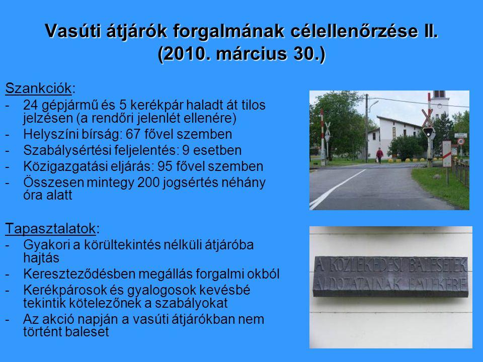 Vasúti átjárók forgalmának célellenőrzése II. (2010. március 30.) Szankciók: -24 gépjármű és 5 kerékpár haladt át tilos jelzésen (a rendőri jelenlét e