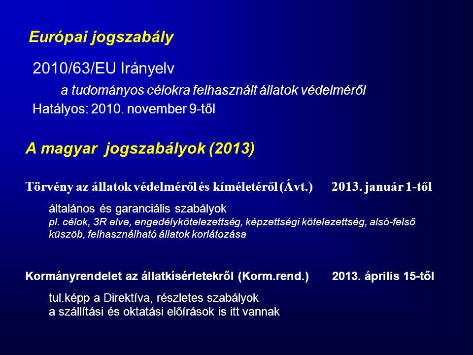 Európai jogszabály 2010/63/EU Irányelv a tudományos célokra felhasznált állatok védelméről Hatályos: 2010. november 9-től A magyar jogszabályok (2013)
