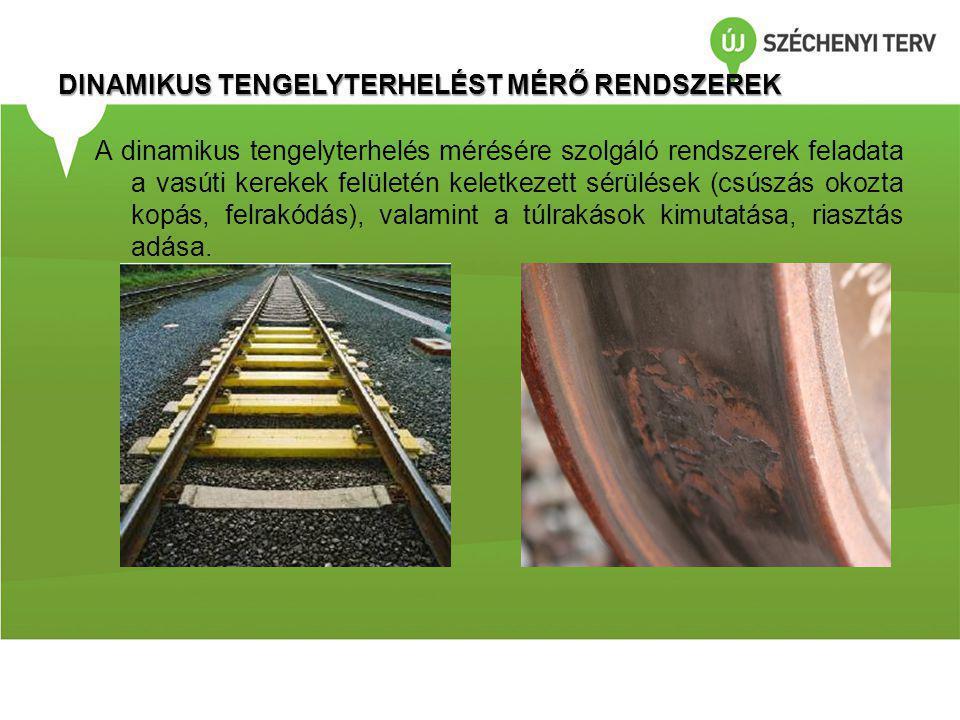 DINAMIKUS TENGELYTERHELÉST MÉRŐ RENDSZEREK A dinamikus tengelyterhelés mérésére szolgáló rendszerek feladata a vasúti kerekek felületén keletkezett sérülések (csúszás okozta kopás, felrakódás), valamint a túlrakások kimutatása, riasztás adása.