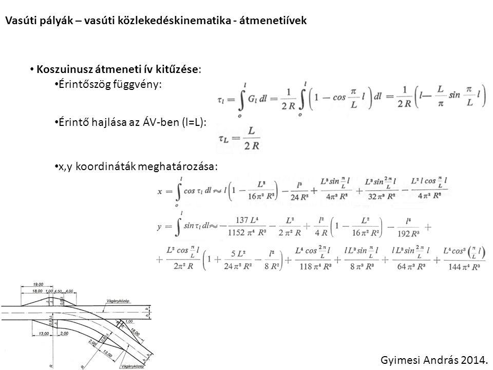Vasúti pályák – vasúti közlekedéskinematika - átmenetiívek Koszuinusz átmeneti ív kitűzése: Érintőszög függvény: Érintő hajlása az ÁV-ben (l=L): x,y k