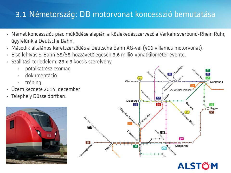 3.1 Németország: DB motorvonat koncesszió bemutatása Német koncessziós piac működése alapján a közlekedésszervező a Verkehrsverbund-Rhein Ruhr, ügyfelünk a Deutsche Bahn.