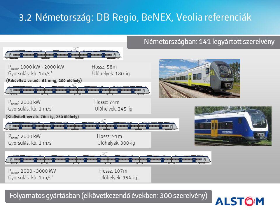 3.2 Németország: DB Regio, BeNEX, Veolia referenciák P nenn : 1000 kW - 2000 kW Hossz: 58m Gyorsulás: kb.