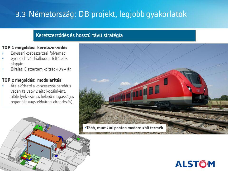 Keretszerződés és hosszú távú stratégia 3.3 Németország: DB projekt, legjobb gyakorlatok TOP 1 megoldás: keretszerződés Egyszeri közbeszerzési folyamat Gyors lehívás kialkudott feltételek alapján Bírálat: Élettartam költség 40% + ár.