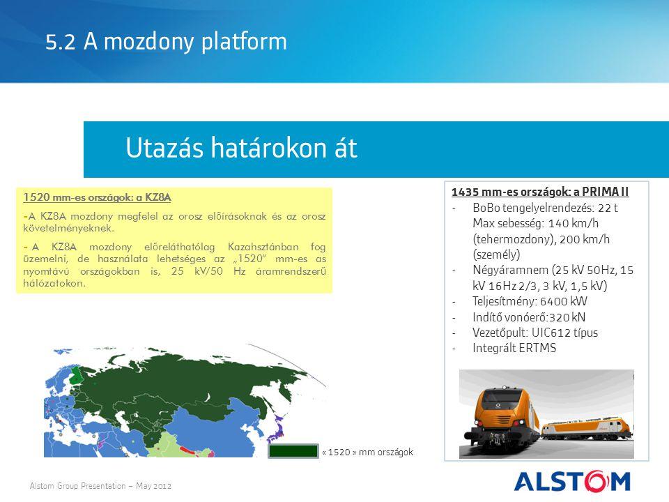 5.2 A mozdony platform Alstom Group Presentation – May 2012 Utazás határokon át 1520 mm-es országok: a KZ8A - A KZ8A mozdony megfelel az orosz el ő írásoknak és az orosz követelményeknek.