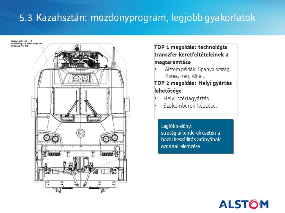 5.3 Kazahsztán: mozdonyprogram, legjobb gyakorlatok Legfőbb előny: stratégiai tenderek esetén a hazai beszállítás arányának azonnali elemzése.