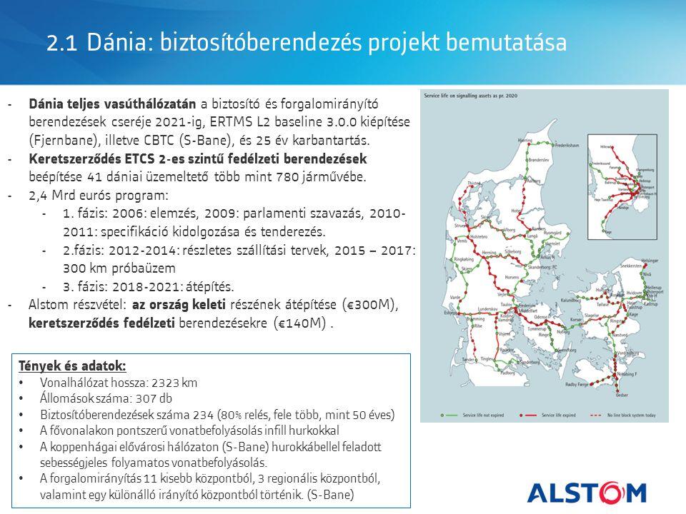 2.1 Dánia: biztosítóberendezés projekt bemutatása - Dánia teljes vasúthálózatán a biztosító és forgalomirányító berendezések cseréje 2021-ig, ERTMS L2 baseline 3.0.0 kiépítése (Fjernbane), illetve CBTC (S-Bane), és 25 év karbantartás.