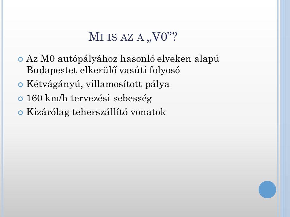 """M I IS AZ A """"V0""""? Az M0 autópályához hasonló elveken alapú Budapestet elkerülő vasúti folyosó Kétvágányú, villamosított pálya 160 km/h tervezési sebes"""