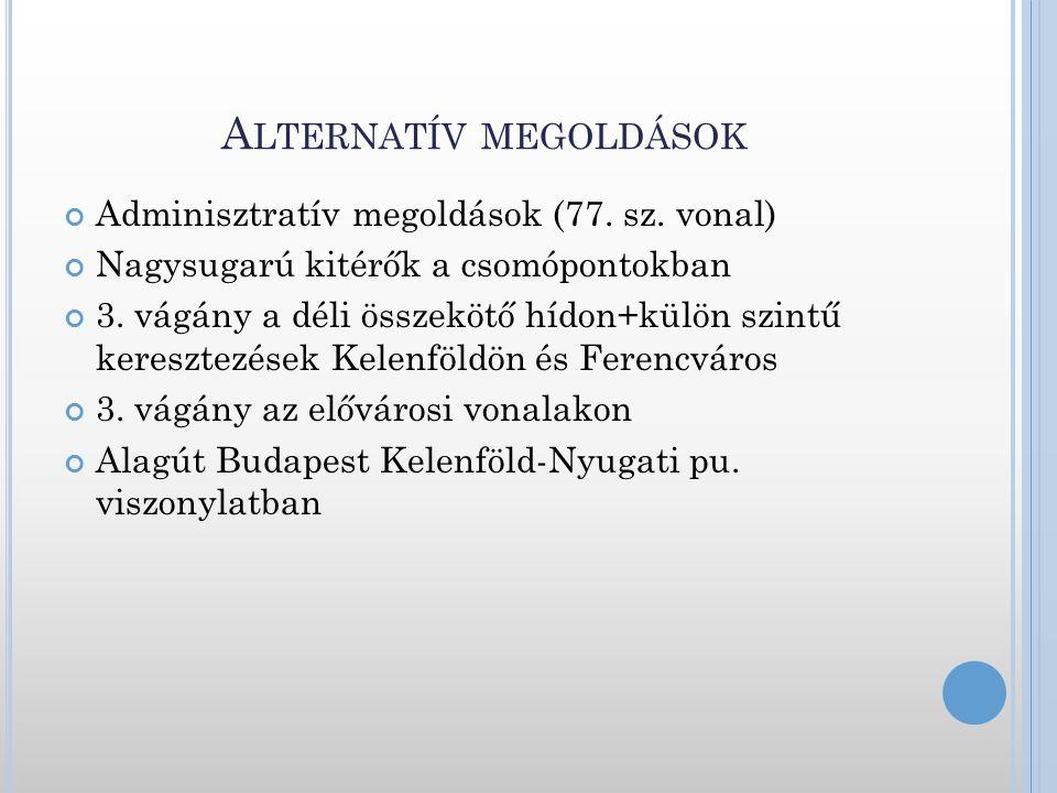 A LTERNATÍV MEGOLDÁSOK Adminisztratív megoldások (77. sz. vonal) Nagysugarú kitérők a csomópontokban 3. vágány a déli összekötő hídon+külön szintű ker