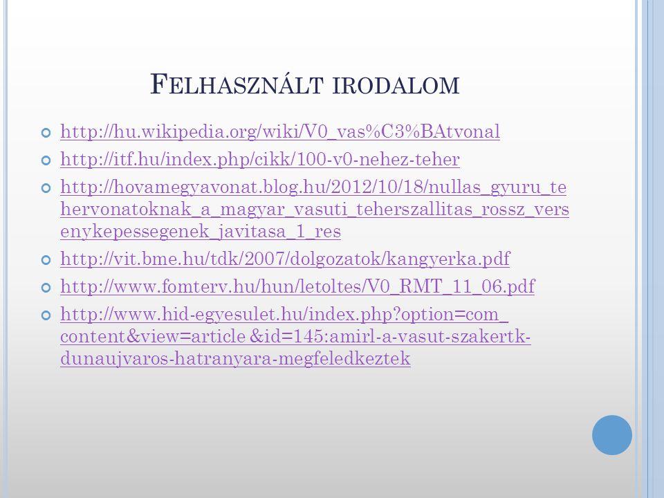 F ELHASZNÁLT IRODALOM http://hu.wikipedia.org/wiki/V0_vas%C3%BAtvonal http://itf.hu/index.php/cikk/100-v0-nehez-teher http://hovamegyavonat.blog.hu/20