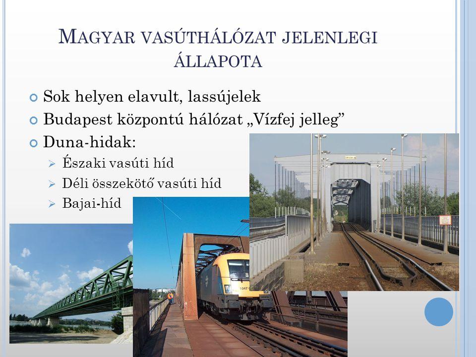 """M AGYAR VASÚTHÁLÓZAT JELENLEGI ÁLLAPOTA Sok helyen elavult, lassújelek Budapest központú hálózat """"Vízfej jelleg"""" Duna-hidak:  Északi vasúti híd  Dél"""