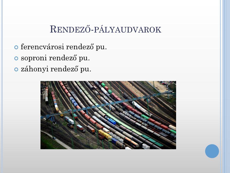 R ENDEZŐ - PÁLYAUDVAROK ferencvárosi rendező pu. soproni rendező pu. záhonyi rendező pu.