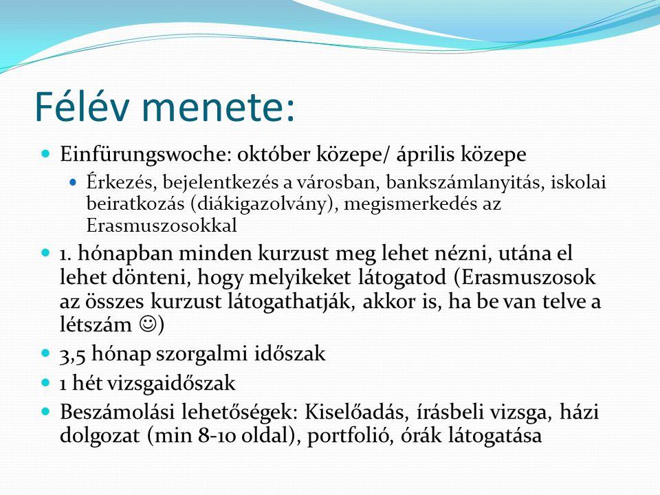 Félév menete: Einfürungswoche: október közepe/ április közepe Érkezés, bejelentkezés a városban, bankszámlanyitás, iskolai beiratkozás (diákigazolvány), megismerkedés az Erasmuszosokkal 1.