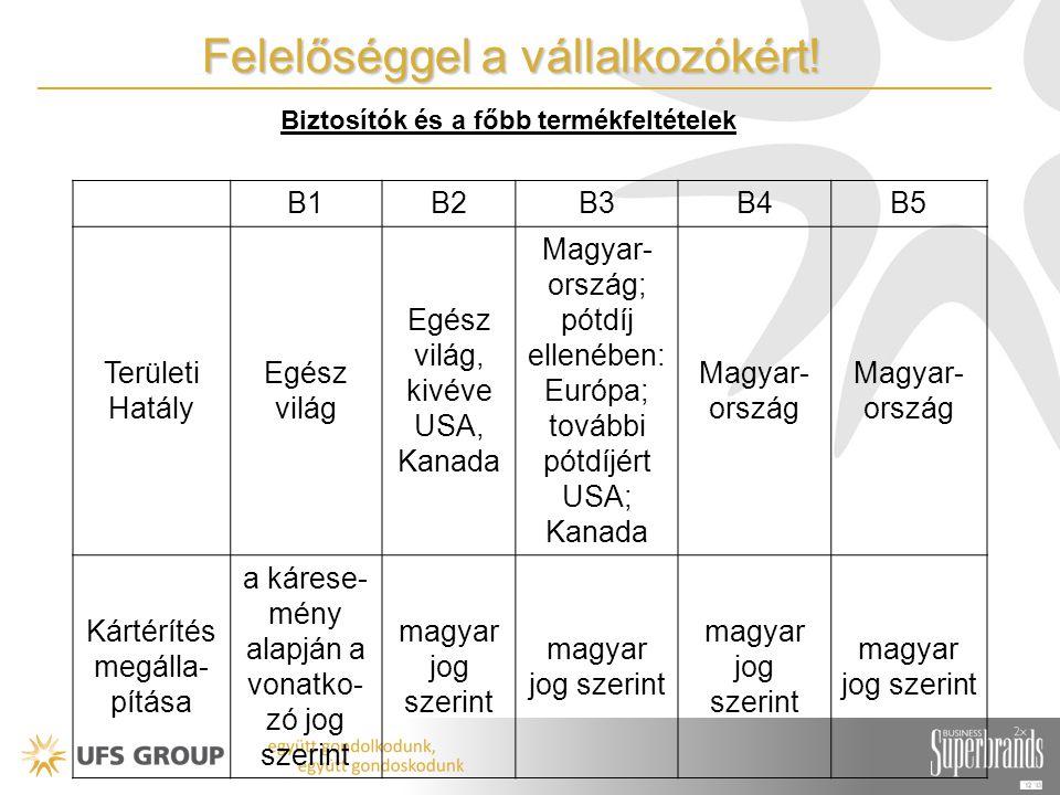 B1B2B3B4B5 Területi Hatály Egész világ Egész világ, kivéve USA, Kanada Magyar- ország; pótdíj ellenében: Európa; további pótdíjért USA; Kanada Magyar- ország Kártérítés megálla- pítása a kárese- mény alapján a vonatko- zó jog szerint magyar jog szerint Biztosítók és a főbb termékfeltételek