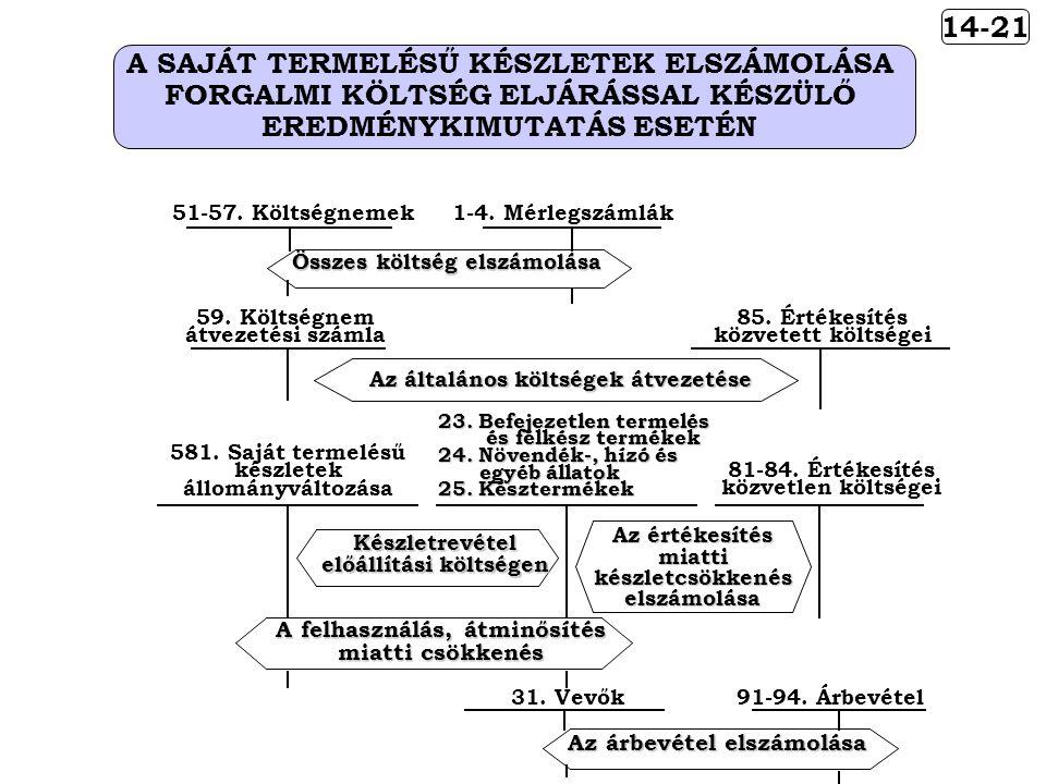 A SAJÁT TERMELÉSŰ KÉSZLETEK ELSZÁMOLÁSA FORGALMI KÖLTSÉG ELJÁRÁSSAL KÉSZÜLŐ EREDMÉNYKIMUTATÁS ESETÉN 14-21 85.